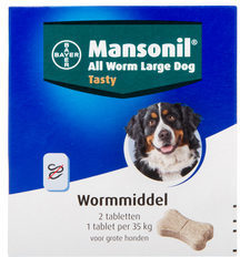 Mansonil All Worm Tablet Large Dog - Anti wormenmiddel - 2 tab Vanaf 10 Kg. 1 Tab Per 35 Kg Large