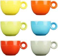 Rode Koffiekopjes - 150ml - Mosterdman - 6 kopjes - regenboog