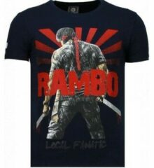 Blauwe Local Fanatic Rambo Shine - Rhinestone T-shirt - Navy Rambo Shine - Rhinestone T-shirt - Navy Heren T-shirt Maat XL