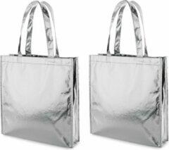 Merkloos / Sans marque 2x Gelamineerde boodschappentassen/shoppers zilver 34 x 35 cm - Non-woven gelamineerde tassen met 50 cm handvatten