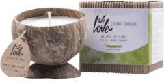 Witte Kokosnoot sojakaars Darjeeling Delight – WE LOVE THE PLANET - duurzaam – vegan – drijfkaars – inclusief kaarshouder – soja was – rook en roetvrij – herbruikbaar – biologisch afbreekbaar