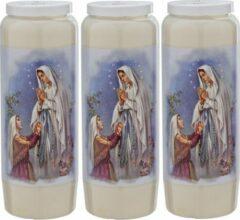 Enlightening Candles 3x Witte noveenkaarsen met gebed 6 x 18 cm 9 dagen - Noveenkaars - Gedenkkaars - Graflicht/herdenkingslicht
