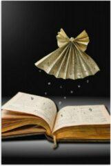 Bruine KuijsFotoprint Poster – Origami Engel Zwevend boven een Boek - 60x90cm Foto op Posterpapier