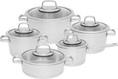 10-delige kookpannenset, Zilver - Roestvrij staal - BergHOFF|Essentials Line
