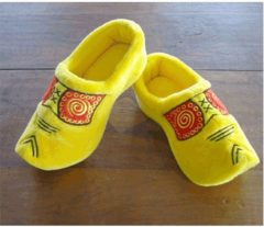 Gele pluche klompen/clogs sloffen/pantoffels voor volwassenen - Klompsloffen voor dames/heren 40-41