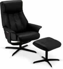 Solliden Biwa relaxstoel fauteuil incl. voetenbank en verstelbare rugleuning, draaivoet, zwart PU kunstleer, metaal zwart.