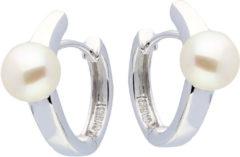 Classics Zilveren Oorbellen klapcreolen met parel 7 mm 107.5250.00