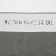 Witte Meyco Wieglaken Love you to the moon & back 75 x 100 cm grijs