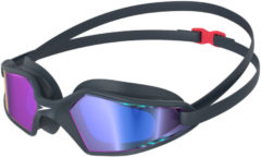 Donkergrijze Speedo Hydropulse Mirror Goggle Zwembril Unisex - Navy/Grey - Maat One Size