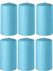 Enlightening Candles 8x Turquoise cilinderkaarsen/stompkaarsen 6 x 15 cm 58 branduren - Geurloze kaarsen turquoise - Woondecoraties