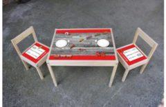 De Fabriek Muurstickers Kinder meubel Houten set steigerhout print met auto's