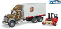 Bruine Bruder 2828 - Mack UPS Vrachtwagen Met Heftruck - Speelset