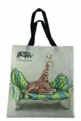 Beige Shopper tas - Shopper tas dames - Gemaakt van hergebruikte PET Flessen - Boodschappen tas - Wildlife at leisure - Giraffe - Milieubewust en Groen. Origineel Afrikaanse passend bij de Wildlife at Leisure collectie van WhimsicalCollection