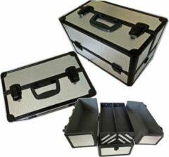 Merkloos / Sans marque Beauty Case L Zilver CROCO/ Zwart Frame Nieuw (alleen bij ons verkrijgbaar!!)