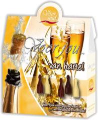 Voor Jou! Cadeau doos champagneflesjes van harte 100 Gram