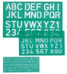 Groene Linex lettersjabloon set met 3 stuks in een ophangetui