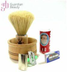 Bruine Guardian Beauty Compleet scheerset / Voor mannen 5-in-1 / Baardverzorging scheerset / scheerkwast / Light Brown