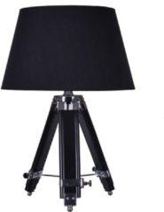 Witte Groenovatie Rouen Industriele Design Tafellamp Van Hout E27 Fitting - 69x35 cm - Zwart