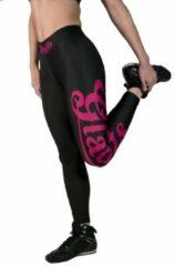 Gladts legging dames zwart met roze letters - S