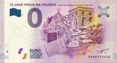 Paarse 0 Euro Biljet 2020 - 75 jaar Vrede en Vrijheid Hotel de Wereld Wageningen
