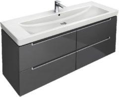 Grijze Villeroy & Boch Subway 2.0 wastafelonderbouw 128,7x44,9x41,6cm met 4 lade voor meubelwastafel 7176 130cm grey a69100fp