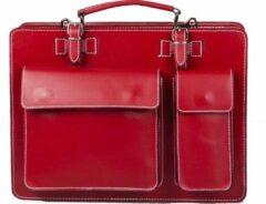 Viabologna Viabologna Businessbags Unisex Aktetas Rood met wit stiksel