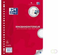 Witte Oxford ringbandinterieur voor ft A4, 23-gaatsperforatie, met kantlijn, 200 bladzijden, geruit 5 mm
