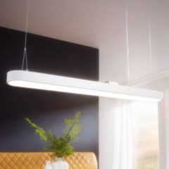 Wohnling LED-Deckenleuchte LINE Matt weiß Metall EEK A+ Deckenlampe 48 Watt 120 x 121 x 15 cm Design Arbeitsplatz Hängelampe 4080 Lumen kaltweiß ohne