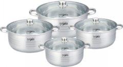 Zilveren Platinum PL-11007 Kookpannenset RVS Met Glazen Deksels - 8-Delig