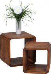 Wohnling 2er Set Satztisch BOHA Massiv-Holz Sheesham Wohnzimmer-Tisch Landhaus-Stil Cubes Beistelltisch Würfelregal Natur