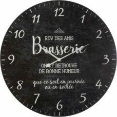 Antraciet-grijze Modernklokken.nl Brasserie Wandklok, Vintage Stijl, Ø 57 cm