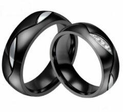 Zoëies® ring voor hem zwart met zilverkleurig motief 19 mm