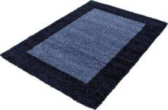 Marineblauwe Himalaya Basic Shaggy Kader vloerkleed Blauw Hoogpolig - 300x400 CM