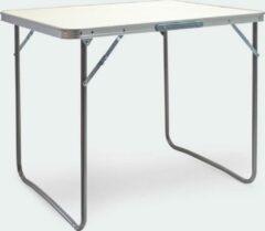 Beige Wiltec Aluminium opvouwbare campingtafel met 80x60cm wit MDF tafelblad, camping bijzettafel, eettafel, speeltafel, kaartafel, campingtafeltje, kampeertafel, kampeertafeltje, kamperen - bijzettafeltje - Multistrobe