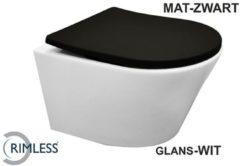 Douche Concurrent Toiletpot Hangend Wiesbaden Vesta Junior 47 cm Diepspoel Wandcloset Rimless Wit Met Mat Zwart Shade Zitting