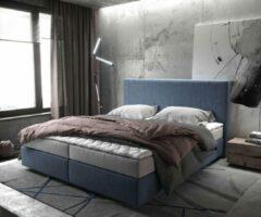 DELIFE Bed Dream-Well Marineblauw 180x200 cm met matras en topper Boxspring-bed