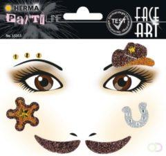 Gouden Herma Face Art Glitter sticker Cowboy