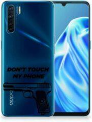 Zwarte B2Ctelecom Back Case Siliconen Hoesje OPPO A91 Telefoonhoesje Pistol Don't Touch My Phone