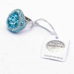 Brigada - ring met druppelvormige Swarovski steen - 925 sterling zilver - voorzien van Swarovski certificaat - maat 19,5
