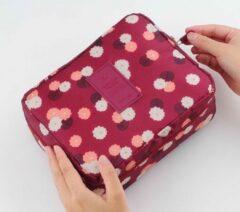 Bordeauxrode Marirosa Toilettas/Make-up tas Bordeaux rood met Bloemen - Beautycase - Reisartikelen - Dames - Vrouwen