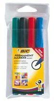 Bic permanent marker 2000-2300 etui van 4 stuks in geassorteerde kleuren, schrijfbreedte 1,7 mm, ronde...