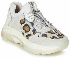 Bronx Baisley Leopard leren sneakers lichtgrijs
