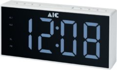 AIC 48 XXL - digitale wekkerradio - Wekkerradio met groot LED display - wit