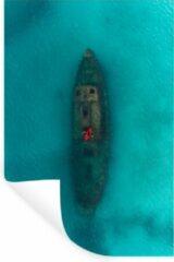 StickerSnake Muursticker Abstract Reizen - Drone foto van een kajakker - 80x120 cm - zelfklevend plakfolie - herpositioneerbare muur sticker
