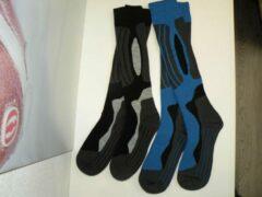 Rucanor skisokken 2 pack zwart-blauw-grijs maat 39/42