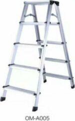 Grijze Excellent Wellness Industrietrap Werktrap Dubbel Oploopbaar 5 Treden 110 cm hoog