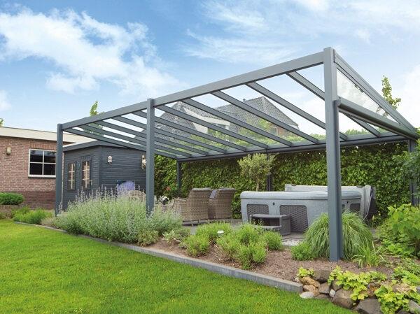 Afbeelding van Van Kooten Tuin en Buitenleven Profiline terrasoverkapping - vrijstaand - 700x250 cm - polycarbonaat dak