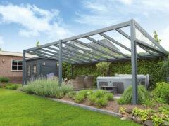 Van Kooten Tuin en Buitenleven Profiline terrasoverkapping - vrijstaand - 700x250 cm - polycarbonaat dak