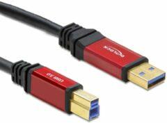 Delock USB 3.0 Aansluitkabel [1x USB 3.0 stekker A - 1x USB 3.0 stekker B] 3 m Rood, Zwart Vergulde steekcontacten, UL gecertificeerd