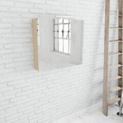 Zaro Beam licht eiken spiegelkast 80x70x16cm 2 deuren